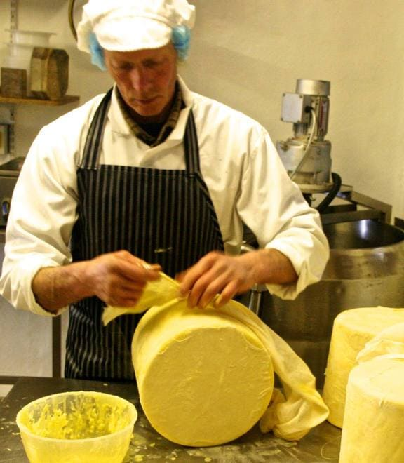 Eric preparing Birdoswald Cheeses at Slack House Farm